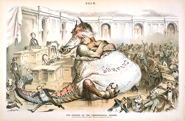 "Spending decisions long have been tricky. Joseph Keppler, ""The opening of the congressional session,""  Puck , 1887. Source:  Senate.gov"