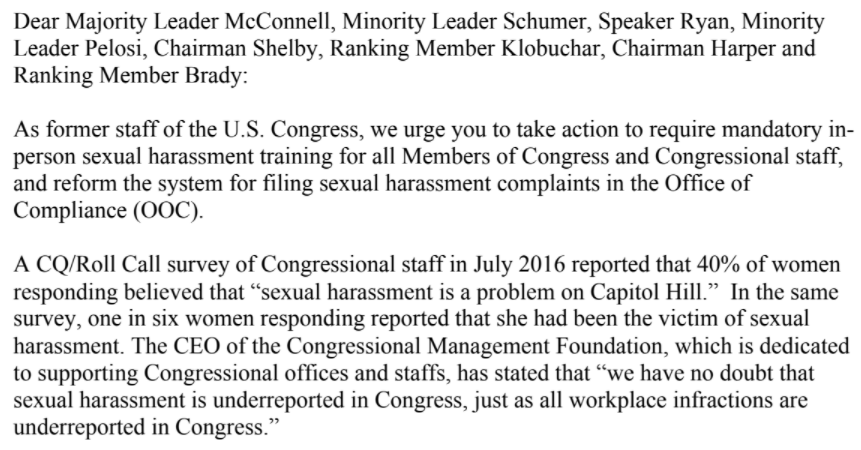 A  letter  to congressional leadership re: sexual harassment from dozens of former Hill staff.