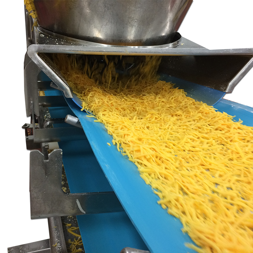 Sanitary Shred Cheese Troughed Profile Conveyor, Urethane Belting, Integrator