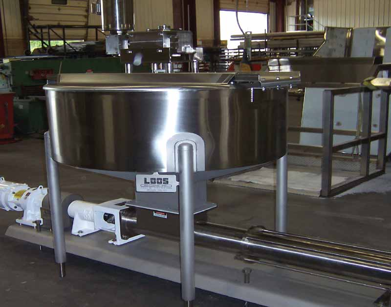 Sanitary Agitating Surge Hopper - VFD Controlled Feed Pump Speeds for Product Distribution