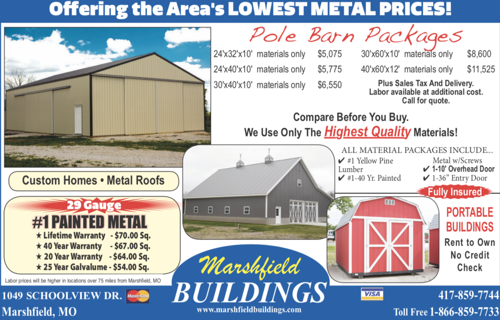 Marshfield Buildings 2019 Pricing
