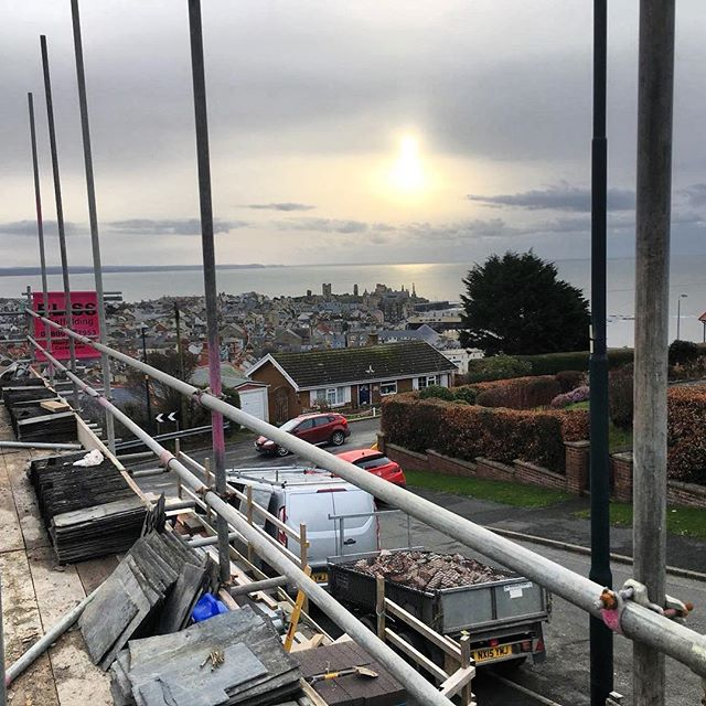 Stage 1 - demolition has begun at this project, soon to receive a 1st floor extension to make the most of this stunning view overlooking #Aberystwyth  #MidWales #Cymru #Extension #Sunset #Construction #Architecture #Penseiri #BaeCeredigion #GeorgeTomos #Architects