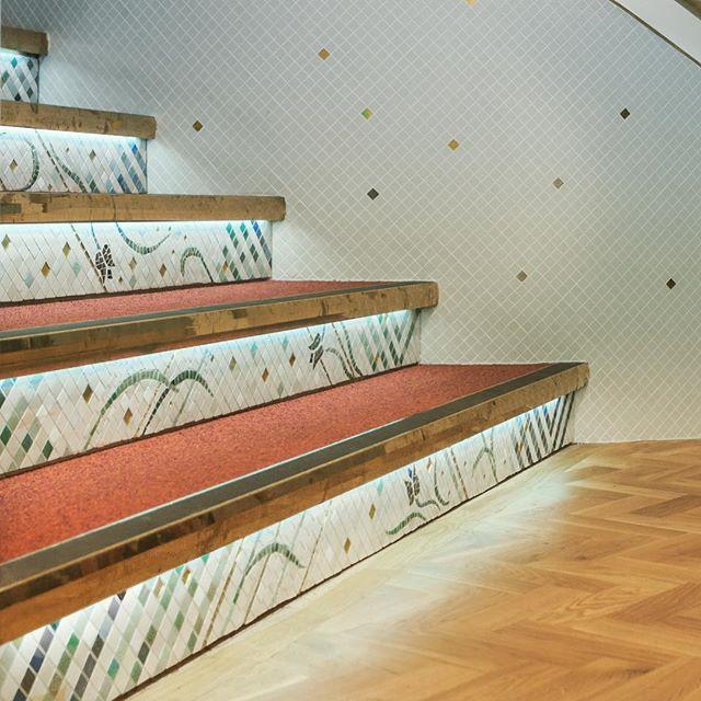 Mosaic Staircase @amgueddfa_ceredigion_museum  #Staircase #Stairs #Mosaic #Mosaics #museum #lighting #feature #architecture #architects #design #dylunio #Aberystwyth