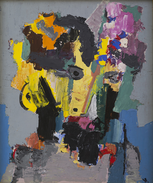 "Male Head,   Muzhskaya golova  , 1982.   Acrylic on panel, 19.69"" x 16.54"" The Hoffman Art Institute, USA"
