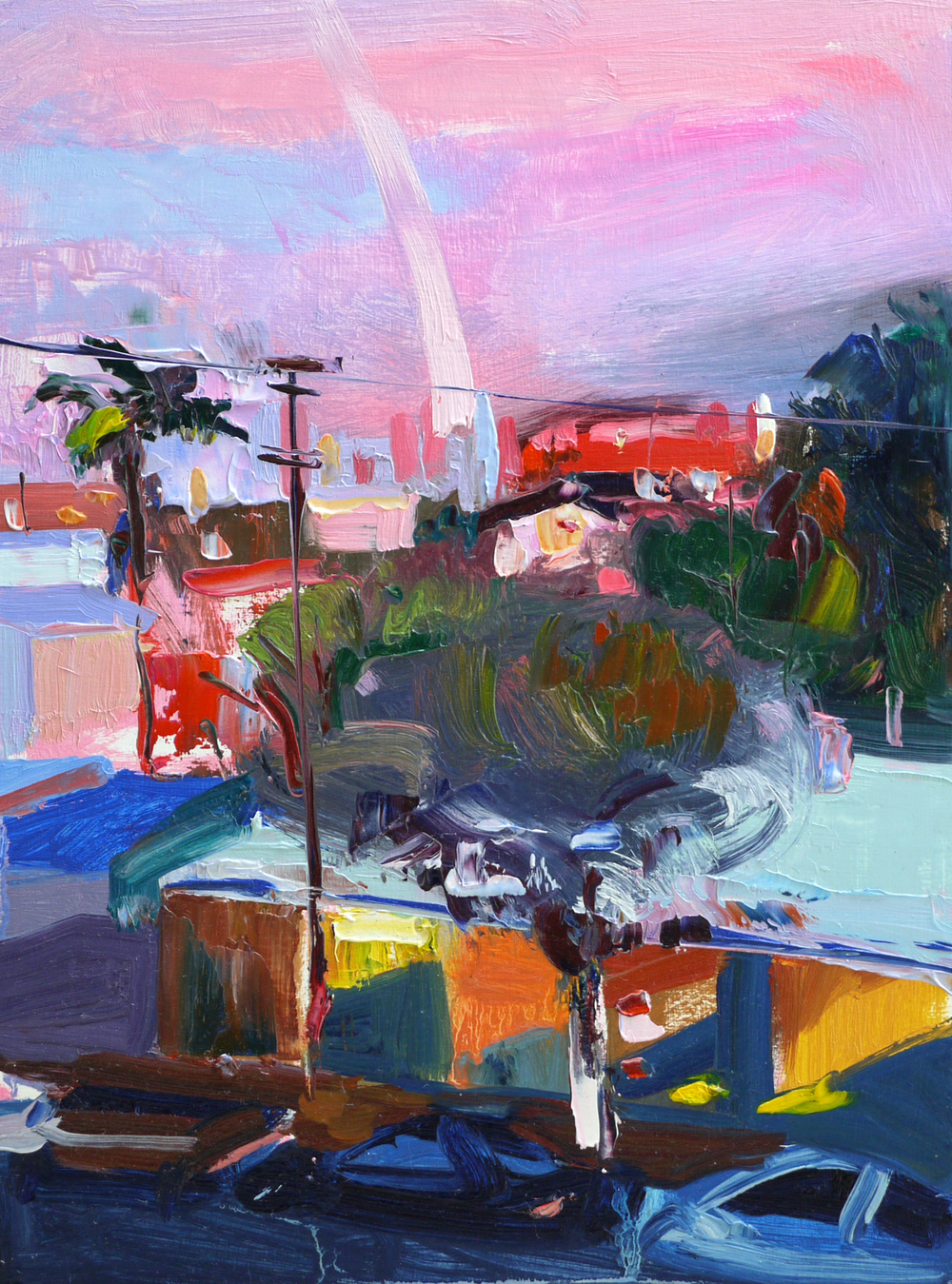 "Pink Balcony View , 9""x12"", Oil on wood, 2015."