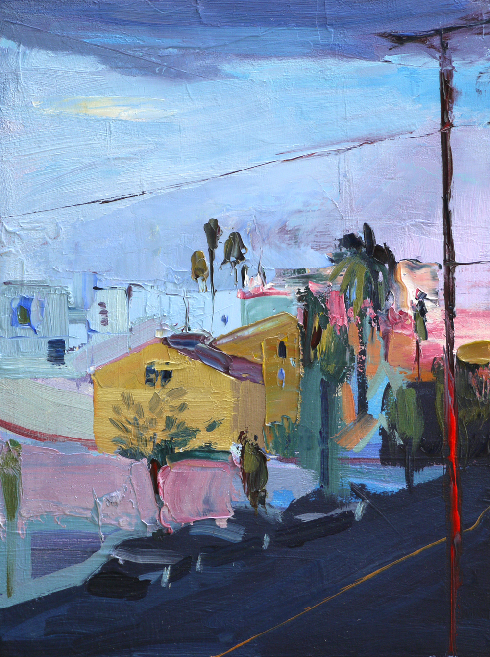 "Rosewood Ave, 9""x12"", Oil on wood, 2015."