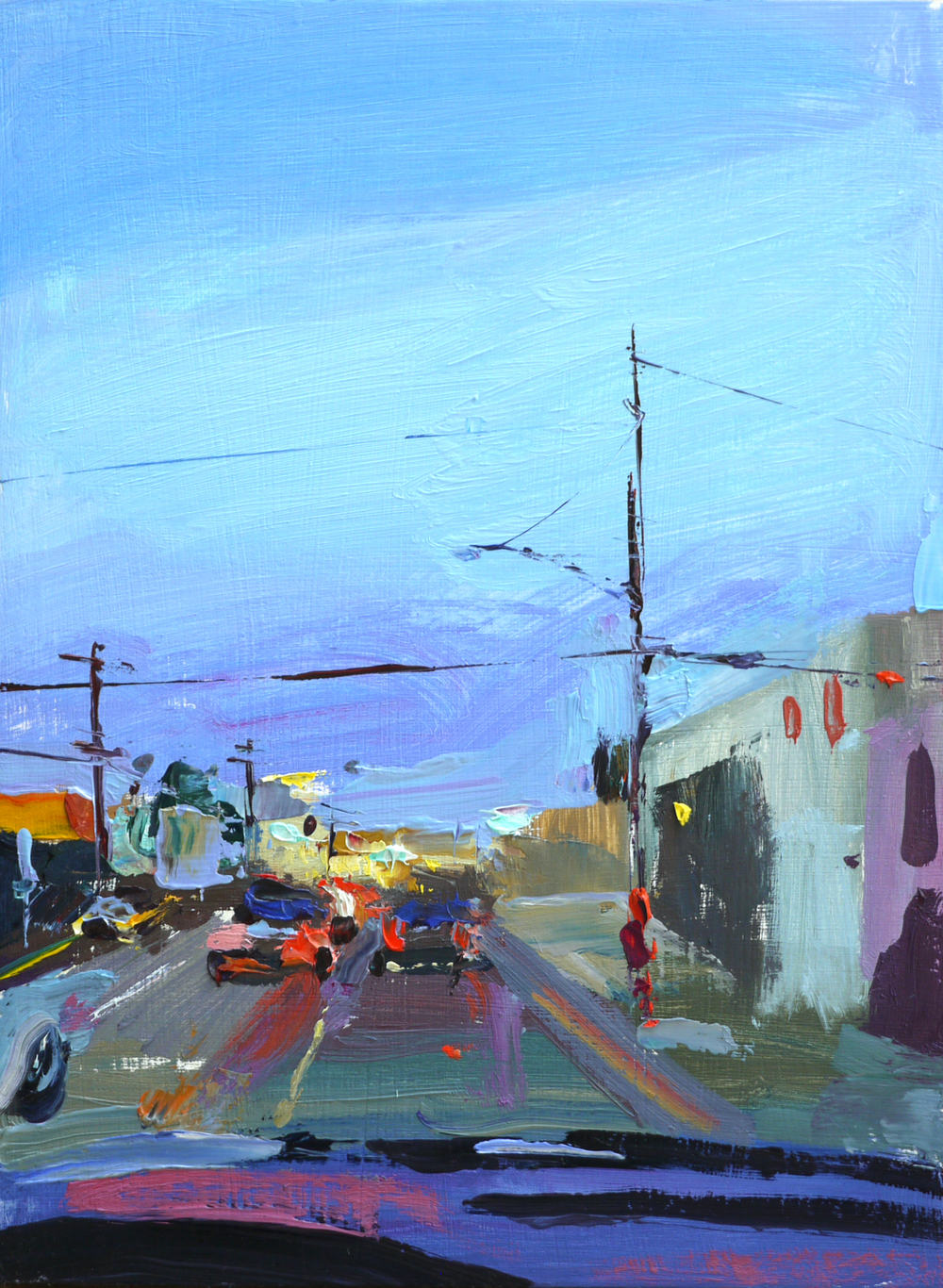 "On Melrose,   9""x12"",   Oil on wood  , 2016."