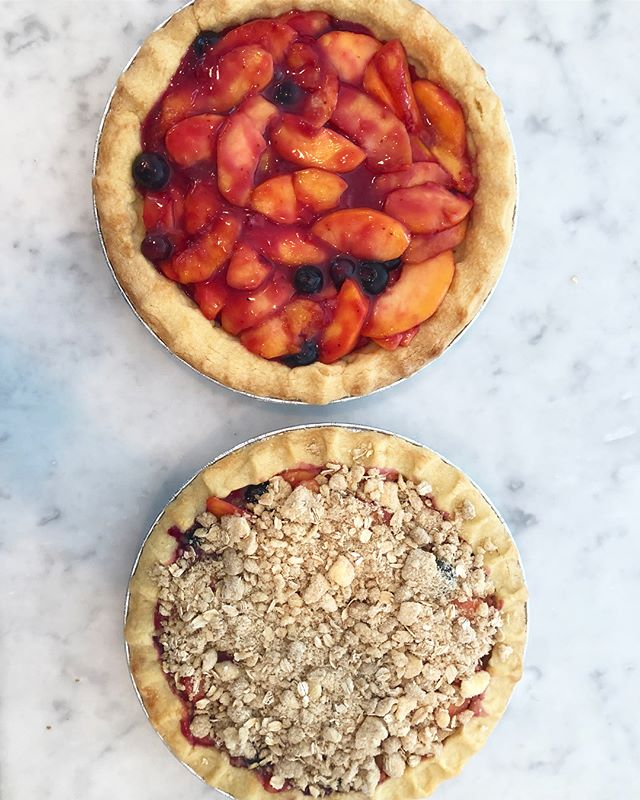 Everything's peachy 🍑 Don't miss out on the Peach Blueberry Pie! Get yours @balsamfarms 🥧😋