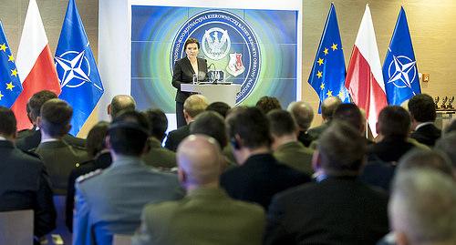 Il Primo Ministro polacco Beata Szydło alla conferenza stampa congiunta Nato-Polonia