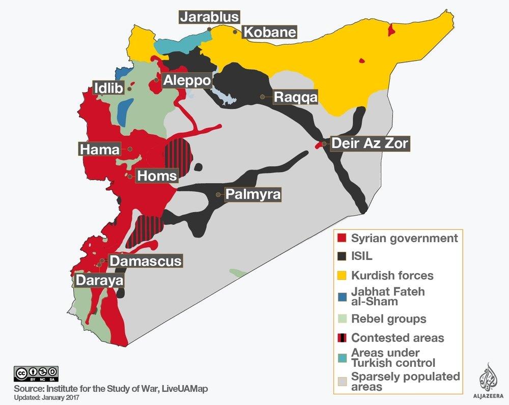 Le divisioni geografiche e le diverse fazioni in lotta in Siria. Fonte: ISW e Al-Jazeera, sotto licenza Creative Commons.