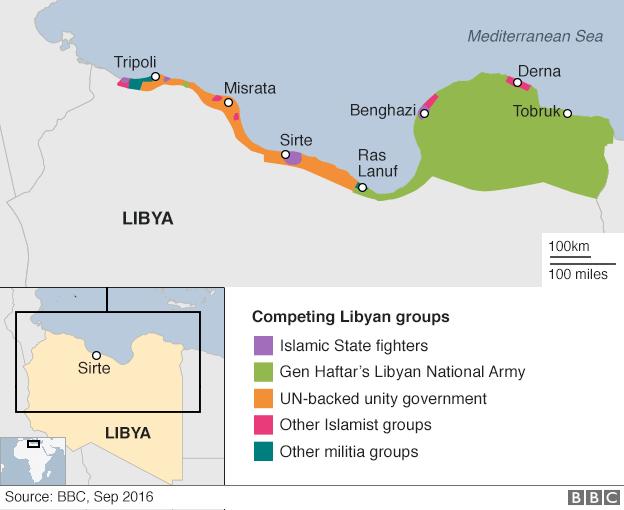 Mappa delle divisioni politiche in Libia, fonte BBC, ripubblicazione approvata dal Network.