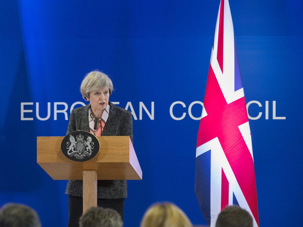 Il Primo Ministro britannico Theresa May al Consiglio d'Europa di Marzo - Foto: The Prime Minister Office Licenza: CC 2.0