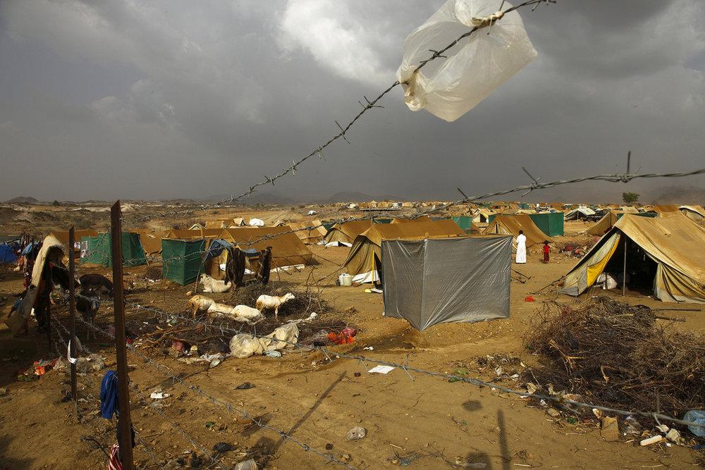 Il campo profughi di Mazrak nello Yemen nord-occidentale dove sono accolti oltre 2800 yemenit. Foto:  IRIN photos Licenza:  CC 2.0