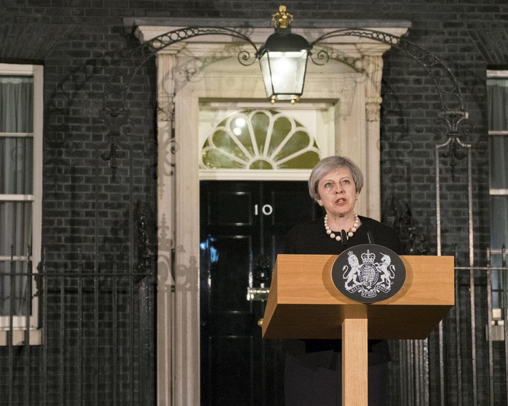 Theresa May durante la conferenza stampa di giovedì sull'attentato di Westminster. Foto. Number 10 Licenza: CC 2.0