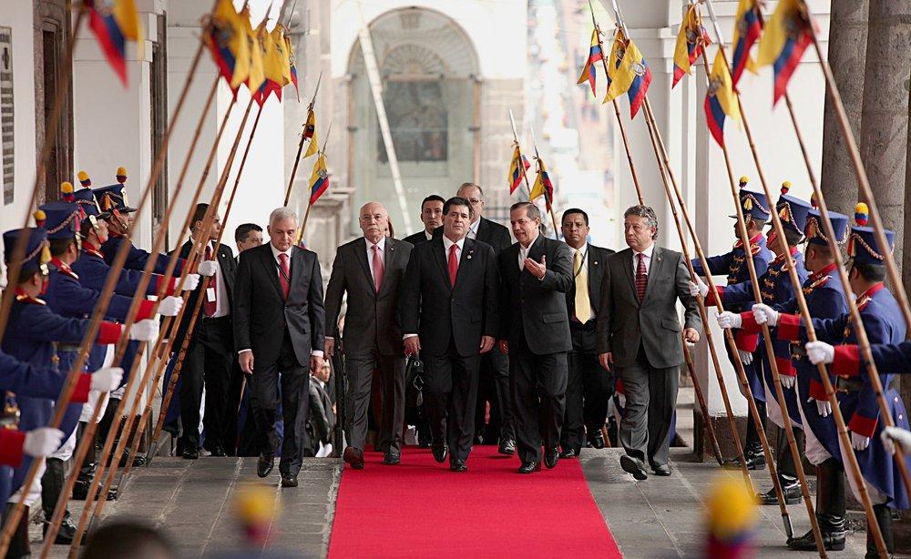 Il presidente paraguayano Horacio Cartes, obiettivo delle proteste di piazza ad Asuncion in visita in Ecuador. Foto:Visita Oficial del Presidente de Paraguay Horacio Cartes di Cancilleria del Ecuador. Licenza: CC 2.0
