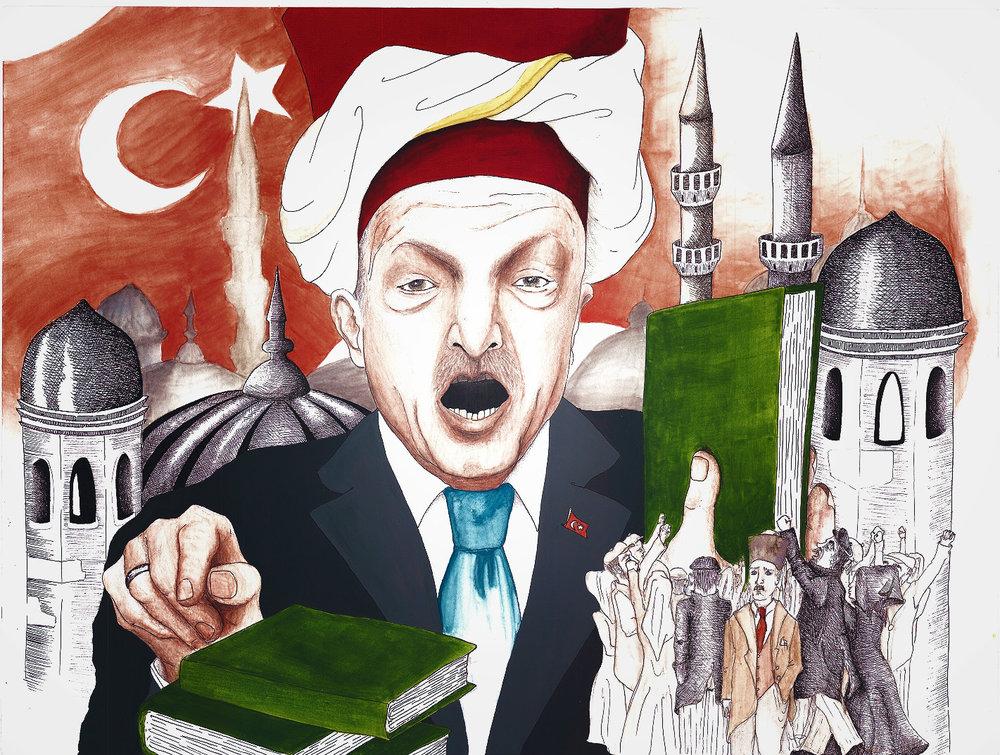 """""""Illustrazione della Settimana"""": il Sultano Erdogan fresco vincitore del referendum costituzionale turco e nuovo padre della patria, almeno per il 51,4% degli elettori. Clara Assi per il Caffè e l'Opinione."""