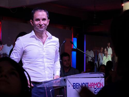 Benoit Hamon, il candidato socialista autore di un'effimera rimonta a gennaio e finito quindi con il 6,5% dei voti, il peggior risultato dei socialisti dal 1969. Foto: Thibaut Prévost Meeting de B. Hamonvia photopin(license)B. Hamon