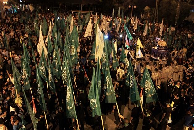 Militanti di Hamas durante manifestazione a Gaza. Foto:  al-Ray Licenza:  CC 2.0