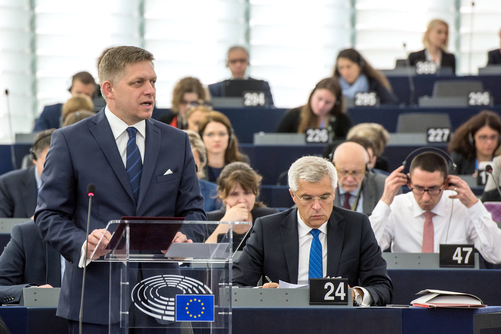 Il Primo Ministro slovacco Robert Fico durante il semestre di presidenza dell'Unione Europea. Foto: European Parliament Licenza:  CC 2.0