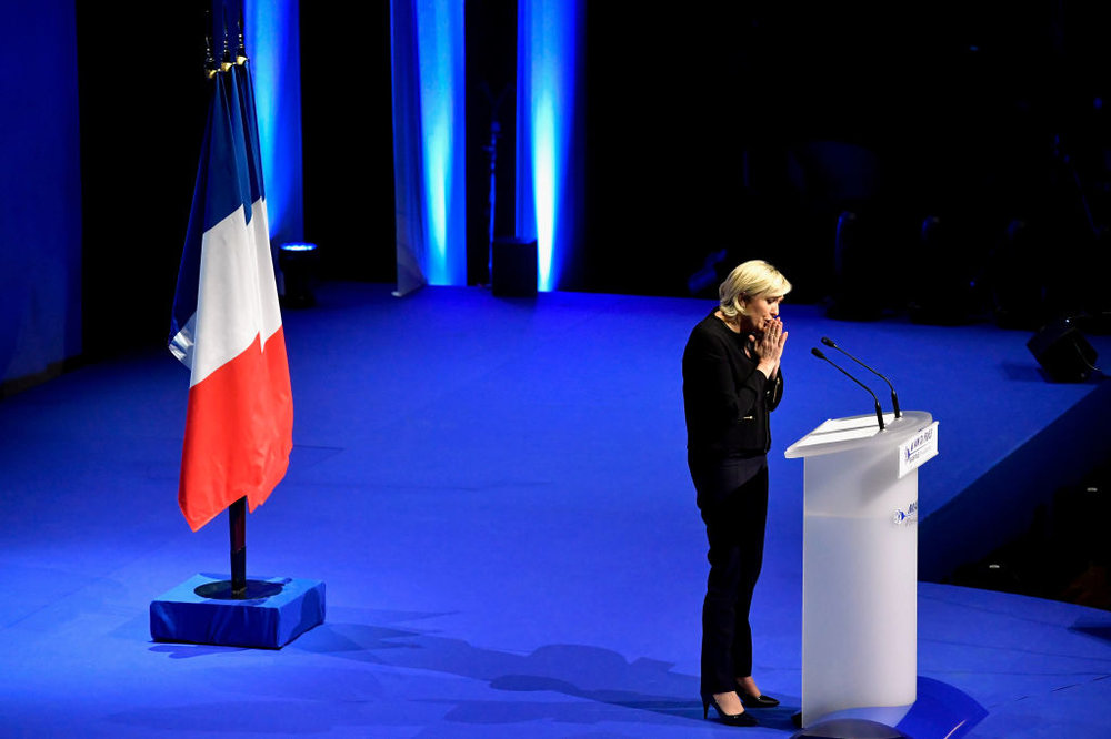 Foto della Settimana: domenica 7 si tiene in Francia il secondo turno delle presidenziali. I sondaggi danno favorito Emmanuel Macron contro la candidata dell'estrema destra francese Marine Le Pen.Foto:Jeff J Mitchell/Getty Images News / Getty Images