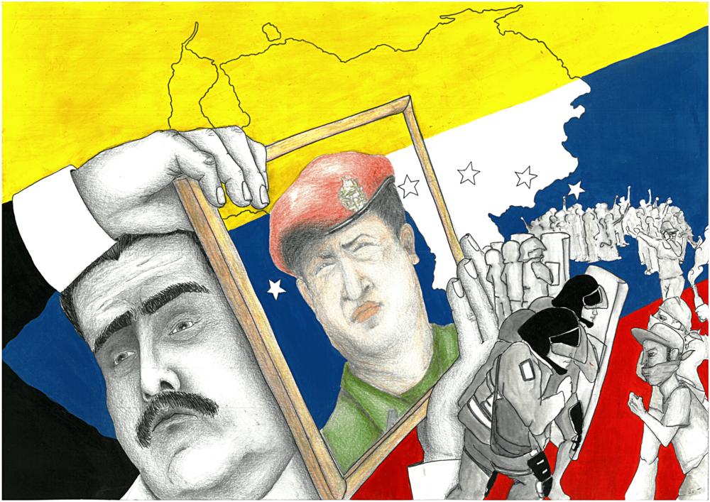 Nicolas Maduro, il Presidente del Venezuela che cerca di difendere l'eredità di Hugo Chavez contro il popolo in rivolta. O forse Chavez è solo uno scudo in mano ad un uomo che non ha le competenze necessarie per risolvere la crisi economica ed umanitaria del suo paese. Autrice: Clara Assi per il Caffè e l'Opinione Licenza: CC 2.0