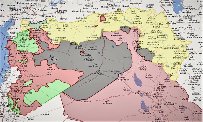 Il territorio del Kurdistan Iracheno e Siriano (giallo). Immagine: il Caffè e l'Opinione