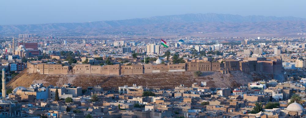 Erbil, la capitale del Kurdistan iracheno, la regione autonoma che va verso l'indipendenza, almeno stando alle intenzioni del governo, che terrà un referendum il 25 settembre. Foto: Getty Images
