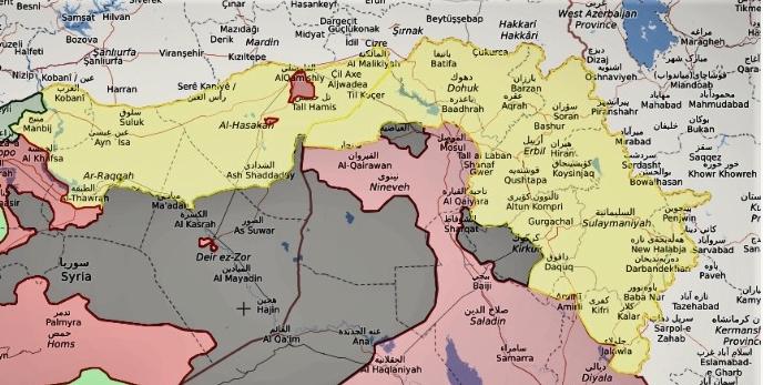 In giallo, il territorio curdo fra Siria ed Iraq, il Kurdistan iracheno comprende l'area orientale con le città di Dohuk, Erbil, Sulaymaniyah e Kirkuk. Immagine: il Caffe e l'Opinione