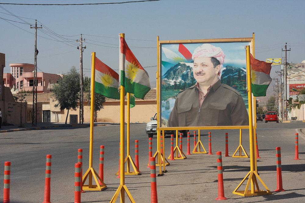 Manifesto inneggiante al Presidente del Kurdistan iracheno, Mass'ud Barzani.Foto: Jorgen Nijman Licenza: CC 2,0
