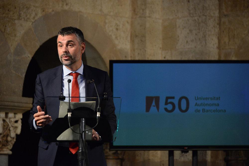 Santi Vila, il principale avversario, interno di Puigdemont. Foto: Premsa SantCugat Licenza:  CC 2.0 :