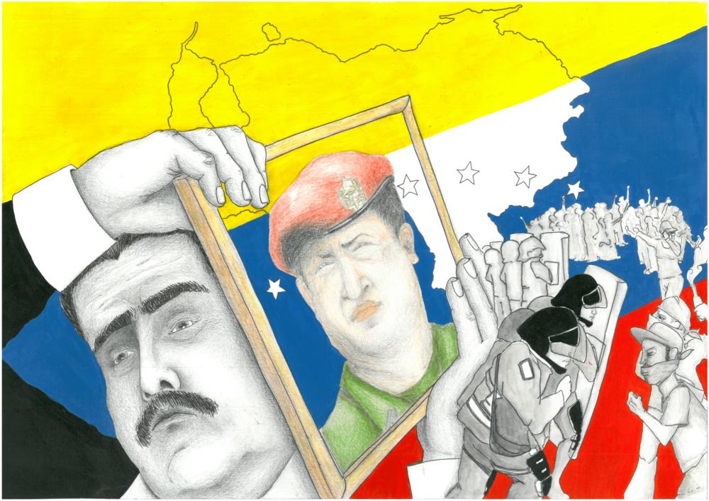 Nicolas Maduro, Hugo Chavez ed il problema di un Venezuela in profonda crisi economica che rischia il default. Illustrazione: Clara Assi Licenza: CC 2.0