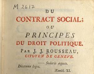 Il Contratto Sociale di Jean-Jacques Rosseau, testo fondamentale per la nascita della democrazia moderna.