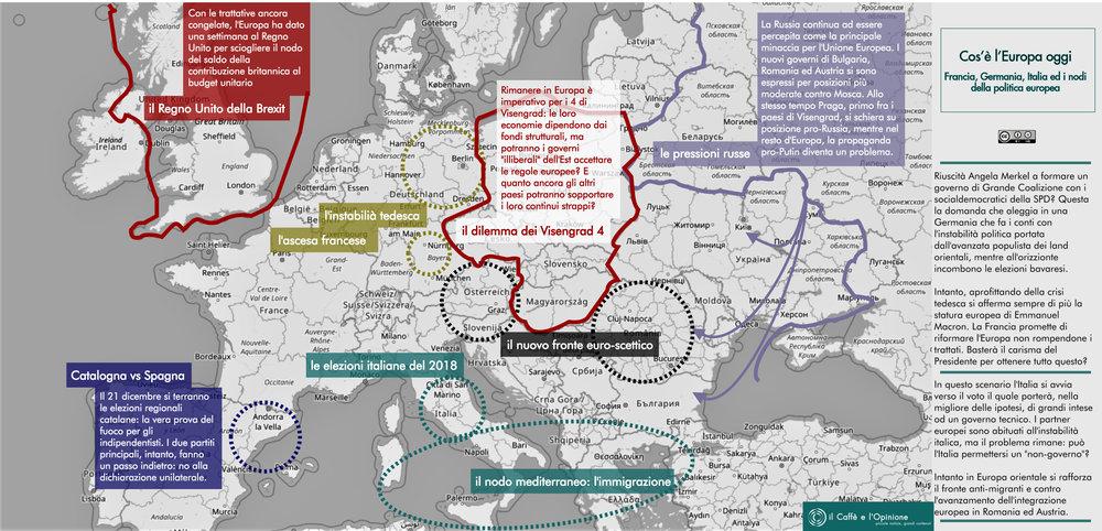 La mappa d'Europa e del suoi problemi, dalla Francia alla Germania, dall'Italia alla Spagna, dall'Est alla Gran Bretagna. Eppure l'Europa cresce, ma che succede? Autore: il Caffè e l'Opinione Licenza: CC 2.0