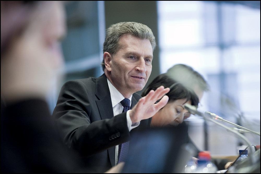 Günther Oettinger, commissario europeo per il bilancio. Foto: European Parliament Licenza:  CC 2.0