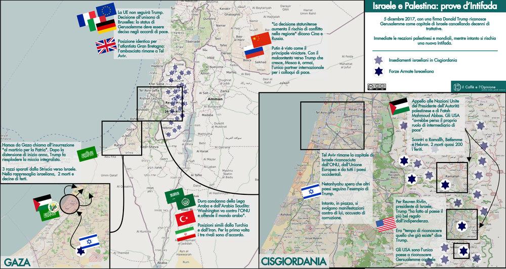 Scontri, dichiarazioni, condanne. Il Medio-Oriente diventa ancora più instabile grazie a Donald Trump ed alla decisione di riconoscere Gerusalemme quale capitale di Israele. Mappa: il Caffè e l'Opinione Licenza: CC 2.0