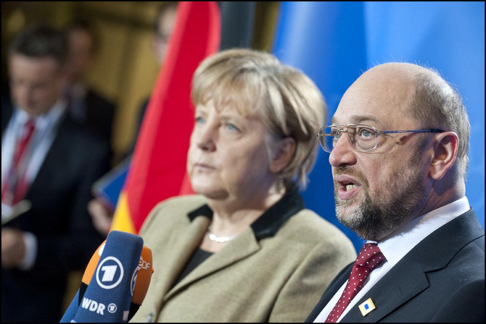 Angela Merkel e Martin Schulz, insieme ora come, al tempo della foto, in Europa. Grande Coalizione in arrivo? Foto: European Parliament Licenza:  CC 2.0