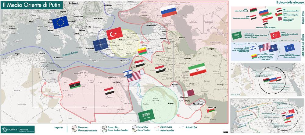 Fra Rosneft, diplomazia, energia atomica ed errori degli avversari, la politica di Vladimir Putin sta ridisegnando il Medio Oriente. Mappa: il Caffè e l'Opinione Licenza: CC 2.0