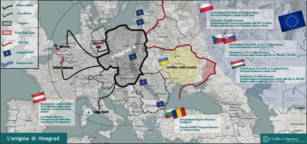 Visegrad 4 e l'Europa. Immagine: il Caffè e l'Opinione Licenza: CC 2.0