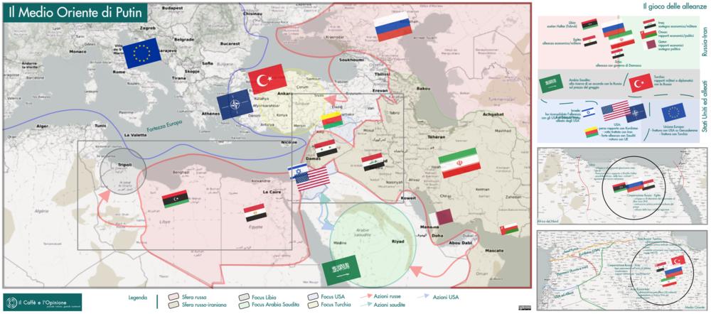 La mappa del Medio-Oriente e le diverse zone di influenza