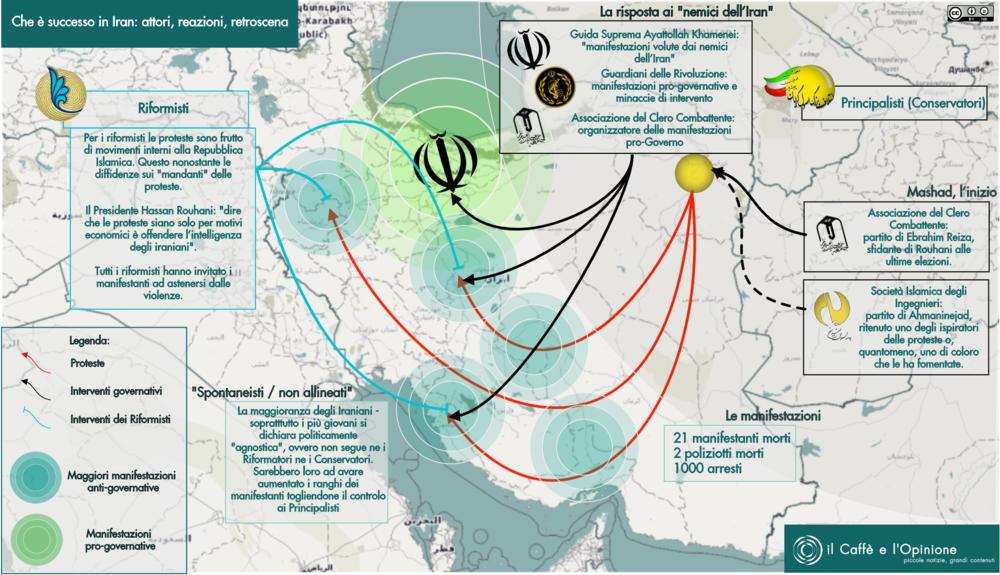L'iran delle mille fazioni fra proteste, reazioni e futuro. Mappa: il Caffè e l'Opinione Licenza: CC 2.0