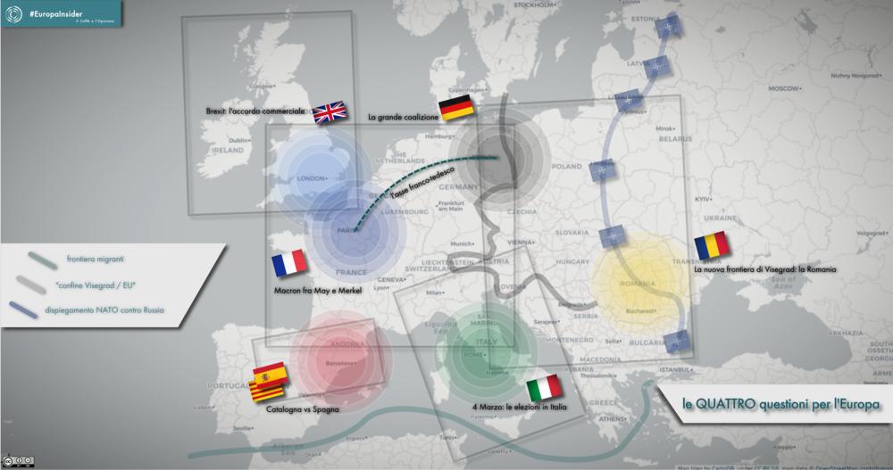 I dossier sul tavolo europeo in questo inizio del 2018: asse franco-tedesco, Italia, Spagna, Romania, Brexit. Mappa: il Caffè e l'Opinione Licenza: CC 2.0
