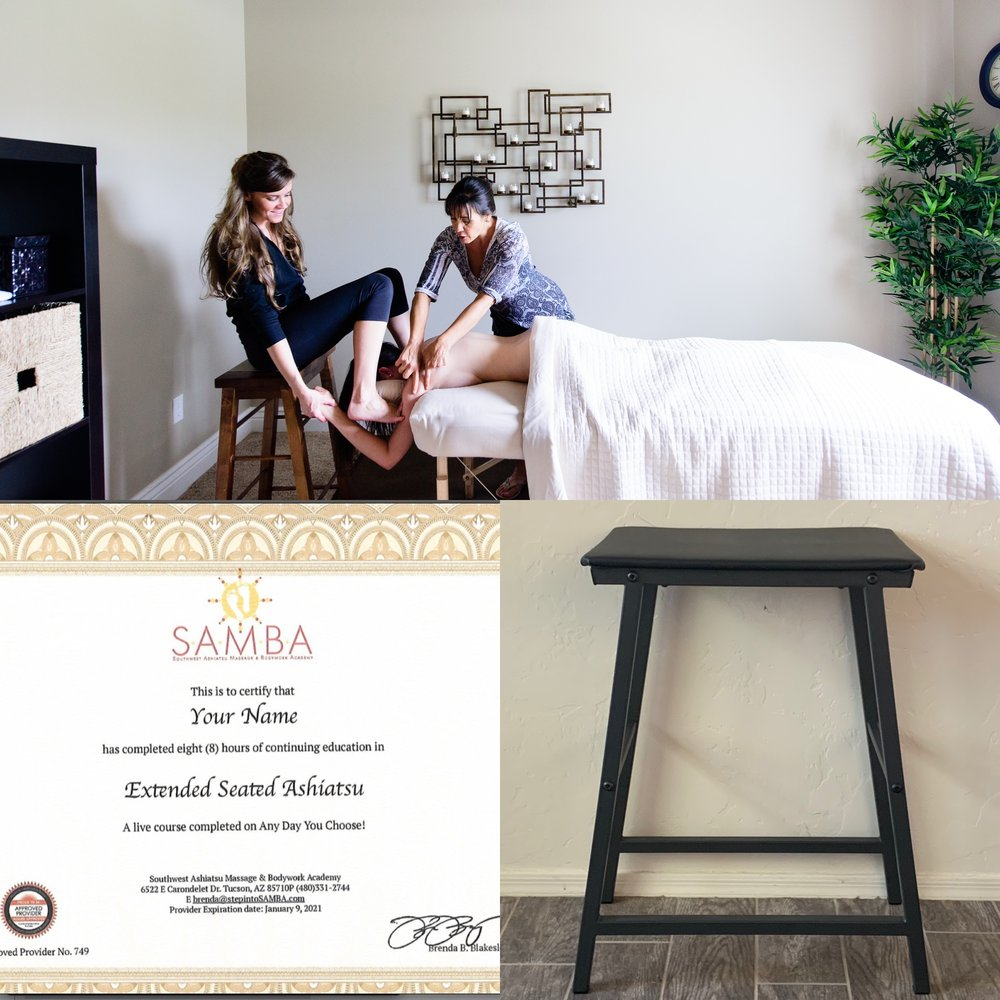 EXTENDED SEATED DELUXE—Saves $40! - CERTIFICATE UPON COMPLETIONGRADUATE LISTING ON WEBSITE1 SET ASHIATSU LINENS FOR USE IN CLASS+ BAR STOOL ($160 VALUE)$280