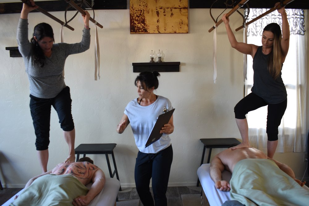 Extended Standing Ashiatsu - PrerequisitesMinimum of 50 sessions using Introductory/Beginner/Basic level Ashiatsu.Knowledge of & ability to communicate using general anatomical terms.Experience with Ashiatsu draping techniques.————————————————————$150 DEPOSIT16 CE HOUR COURSE2 DAYS, 9 A.M. TO 6 P.M.CERTIFICATE UPON COMPLETIONGRADUATE LISTING ON WEBSITE1 SET ASHIATSU LINENS FOR USE IN CLASS$295