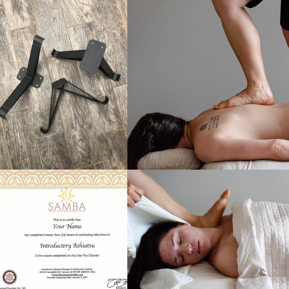 DELUXE INTRO—Saves $30! - 24 CE HOUR COURSE3 DAYS, 9 A.M. TO 6 P.M.POSTERIOR & ANTERIOR BAREFOOT TECHNIQUES90 MIN PROTOCOL TO BUILD PRACTICE WITHBAR INSTALLATION INSTRUCTIONSCERTIFICATE UPON COMPLETIONGRADUATE LISTING ON WEBSITE1 SET ASHIATSU LINENS FOR USE IN CLASS+ INCLUDES a SET OF X BRACKETS ($130 VALUE)$600