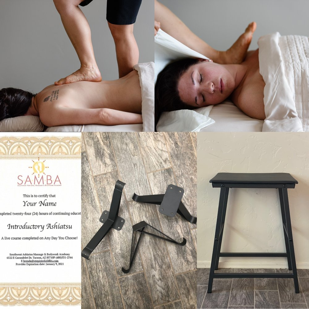 X Brackets, Bar Stool, & Introductory Course —$700 total - SAVES $90!24 CE HOUR COURSE3 DAYS, 9 A.M. TO 6 P.M.POSTERIOR & ANTERIOR BAREFOOT TECHNIQUES90 MIN PROTOCOL TO BUILD PRACTICE WITHBAR INSTALLATION INSTRUCTIONS1 SET ASHIATSU LINENS FOR USE IN CLASSCERTIFICATE UPON COMPLETIONGRADUATE LISTING ON WEBSITE*INCLUDES a SET OF X BRACKETS ($130 VALUE)*INCLUDES a BAR STOOL ($160 VALUE)(Shipping not included)