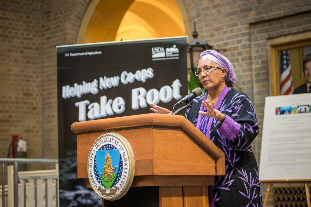 Jessica Gordon Nembhard discusses her book and thoughts about cooperative opportunities for expanded self-reliance in the future for the African-American community at the U.S. Department of Agriculture (USDA) in Washington, D. C., 2015.  Photo by Bob Nichols