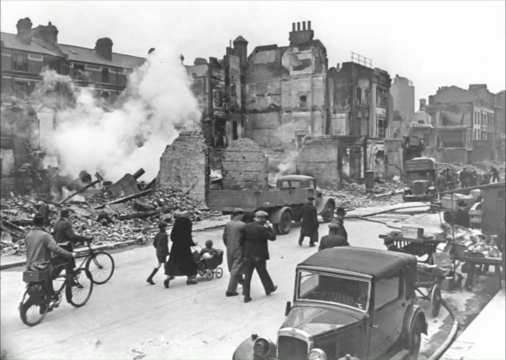 London street after WWII bombing