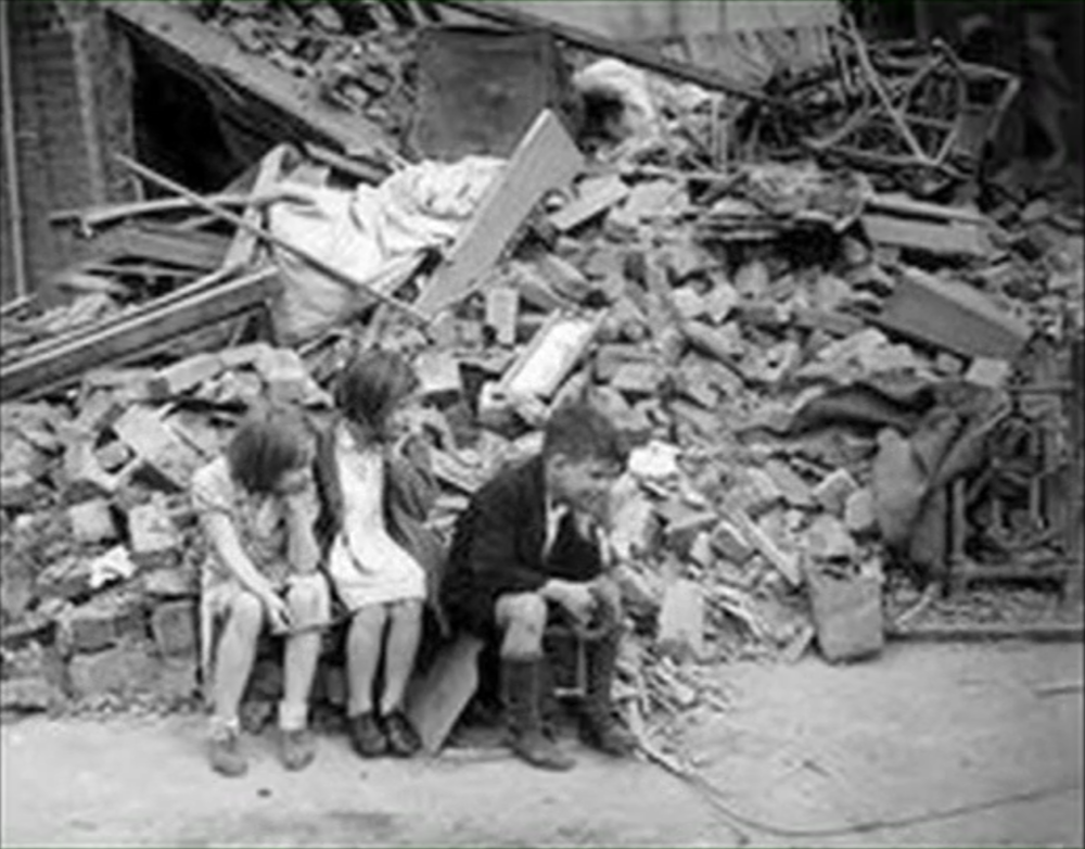 Children in bombed London