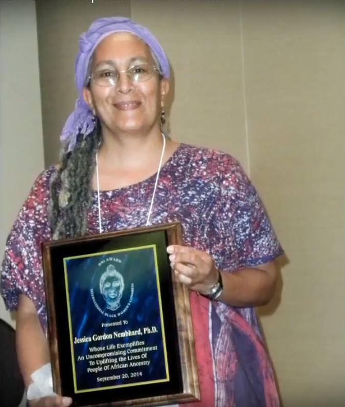 "Jessica was the recipient of the ""ONI Award"" from the International Black Women's Congress, 2014. The award is for an ""unsung heroine"" who ""protects, defends and enhances the general well-being of African people."""