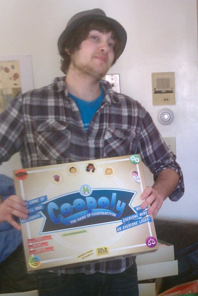 Brian with the first ever assembled Co-opoly game in 2011